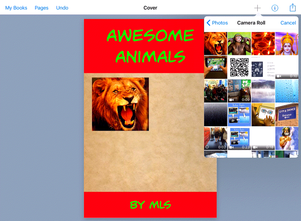 book creator adding photos