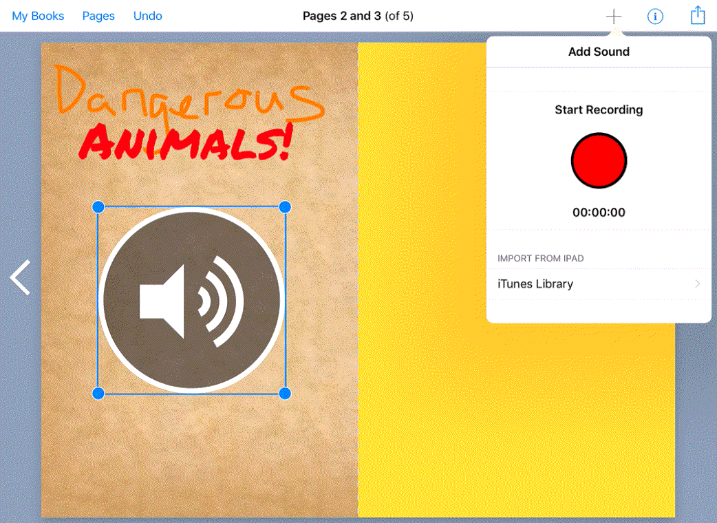 adding sound on book creator
